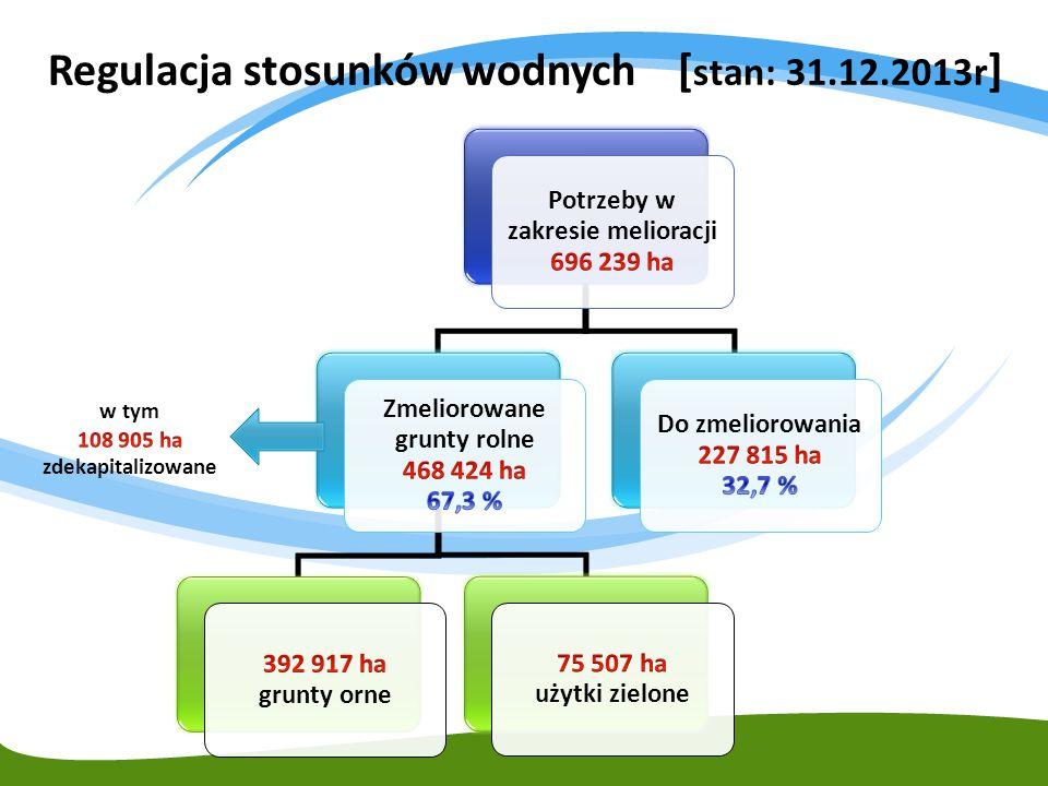 Regulacja stosunków wodnych [stan: 31.12.2013r]